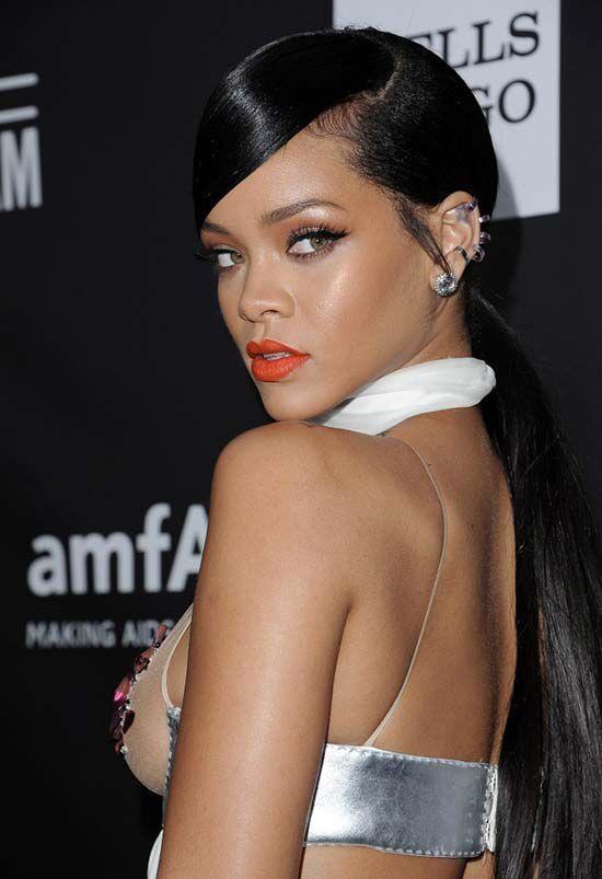 Slick Back Low Ponytail Black Hair Rihanna S Hairstyle Rihanna Hairstyles Rihanna Ponytail Hair Styles