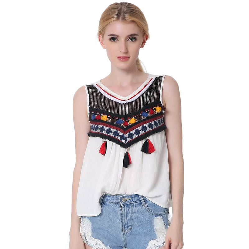 30a76aed28 Click to Buy << WomensDate Europe Vintage Appliques Tassel Tank Vests Summer  Loose Cotton Tank Camis For Women Fashion Casual Top Shirt Vests #Affiliate