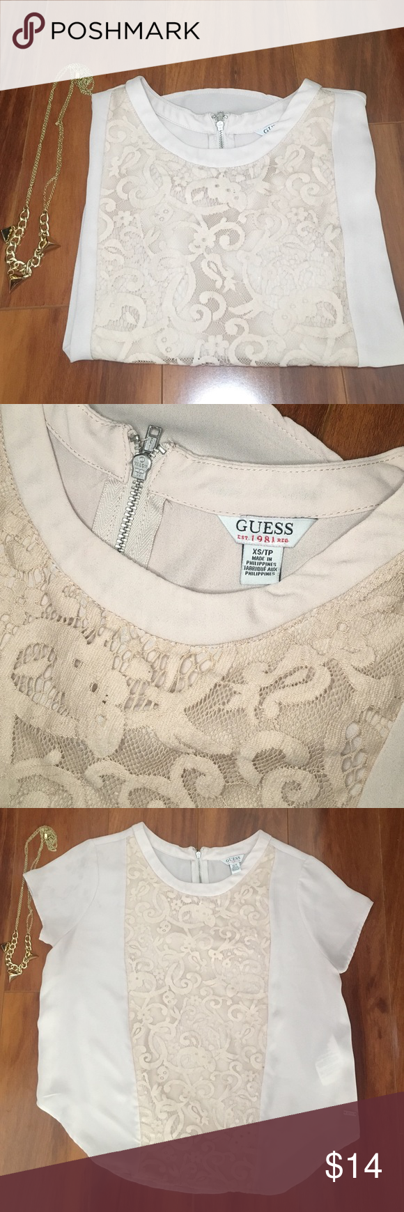 Guess blouse Tan blouse from Guess. Size XS. Lace detail in the front. zipper in the back. In perfect condition🔻-no trades-no modeling-bundle pricing available- 🔻 Guess Tops Blouses