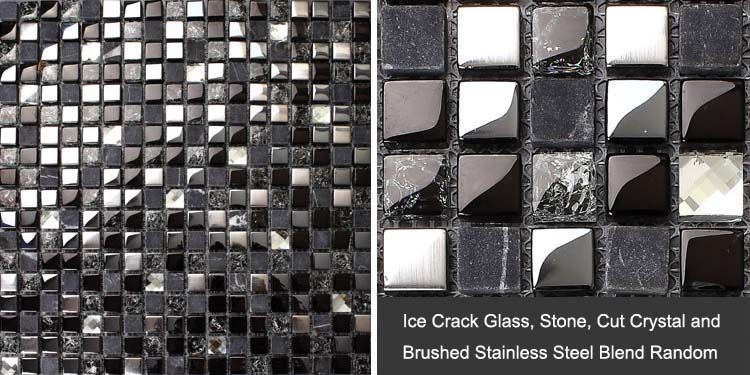 front side of the kitchen backsplash stone mosaic tile - ks66b