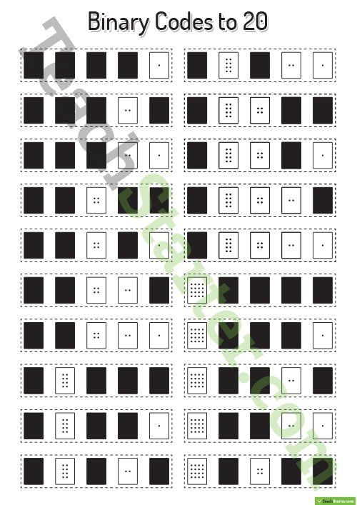 binary codes to 20 with guide dots