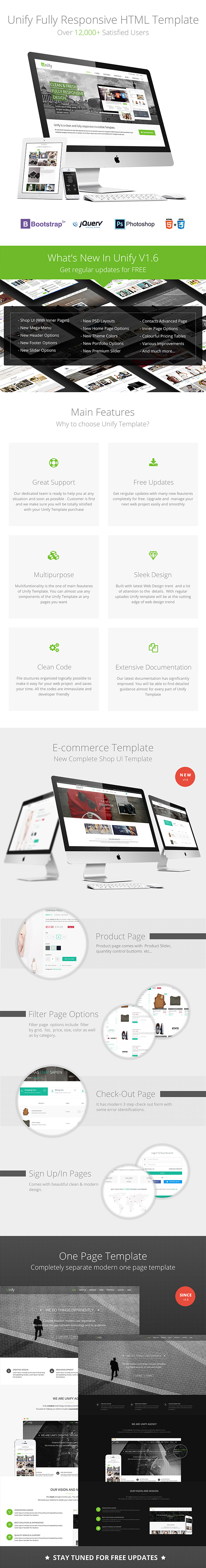 Unify Template comes with 3 complete independent Templates