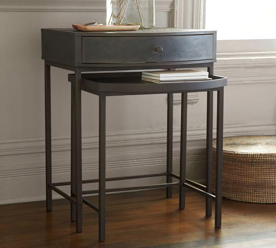 Woodrow Metal Bedside Nesting Table, Dark Bronze Finish