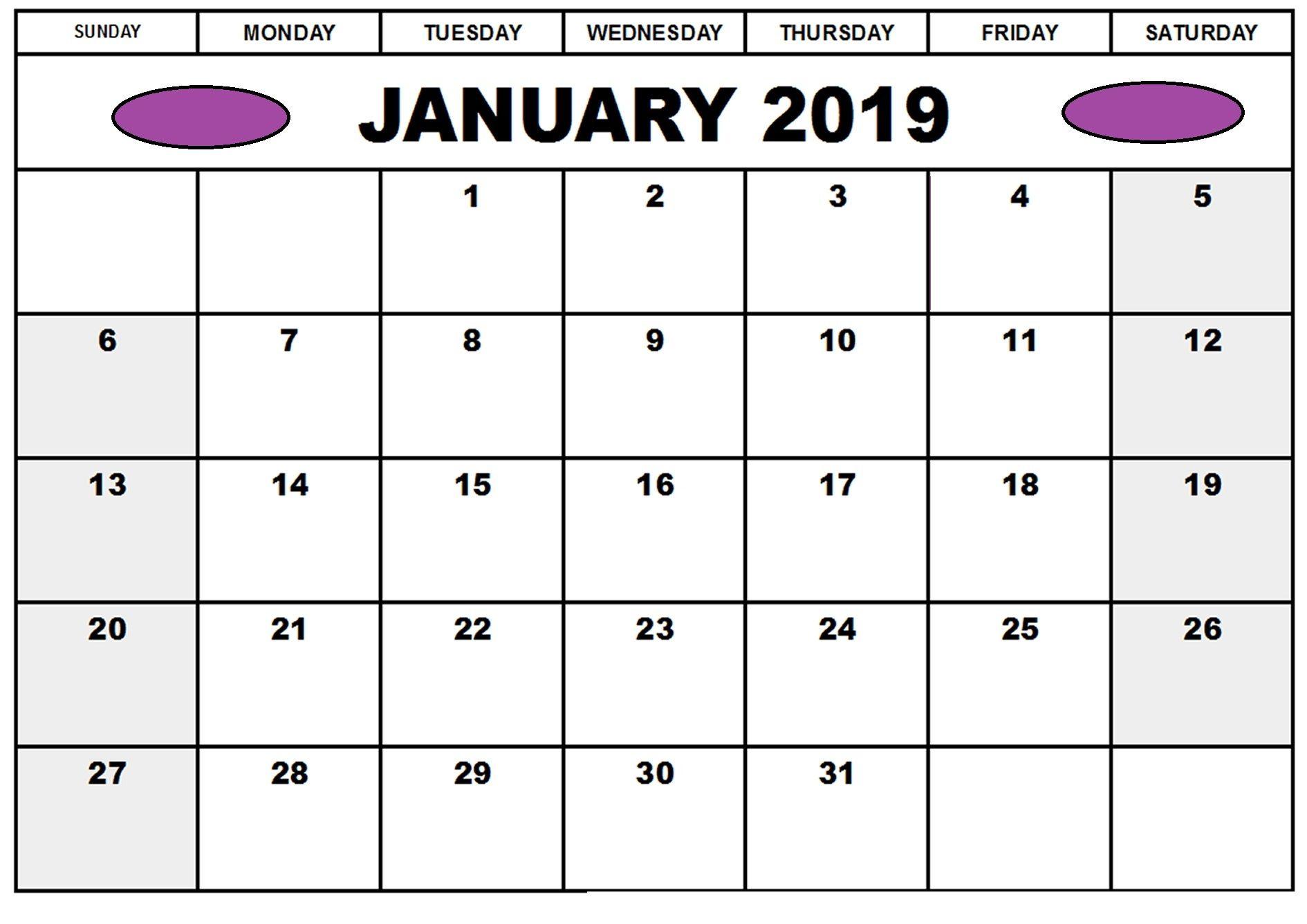 January Calendar Word Printable
