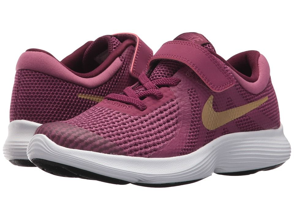 73de53b764a3 Nike Kids Revolution 4 (Little Kid) Girls Shoes Tea Berry Metallic  Gold Bordeaux White