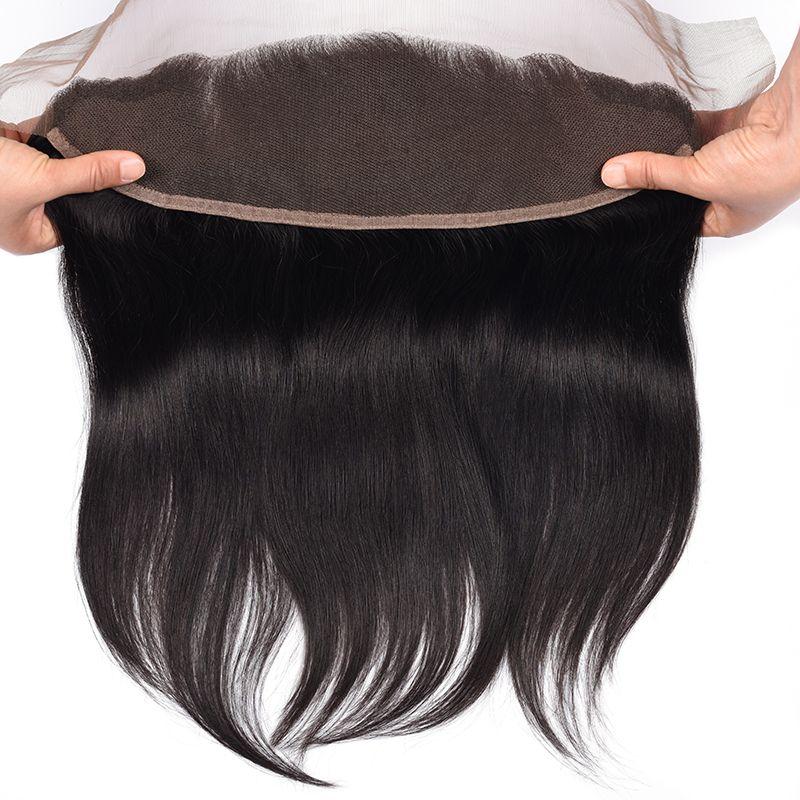 Dhl شحن 8a البرازيلي مستقيم الشعر الأذن إلى الأذن الدانتيل أمامي إغلاق مع شعر الطفل ابيض عقدة Straight Hairstyles Brazilian Straight Hair Wigs Hair Extensions