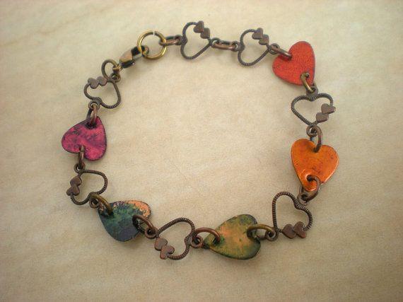Love Bracelet Rainbow  Heart Jewelry  by MaddDoggofTomorrow, $25.00