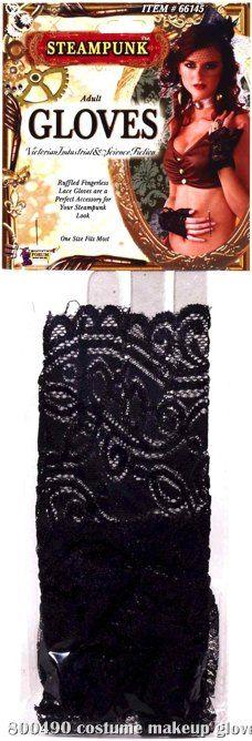 Ruffled Black Lace Fingerless Gloves Adult,$7.99