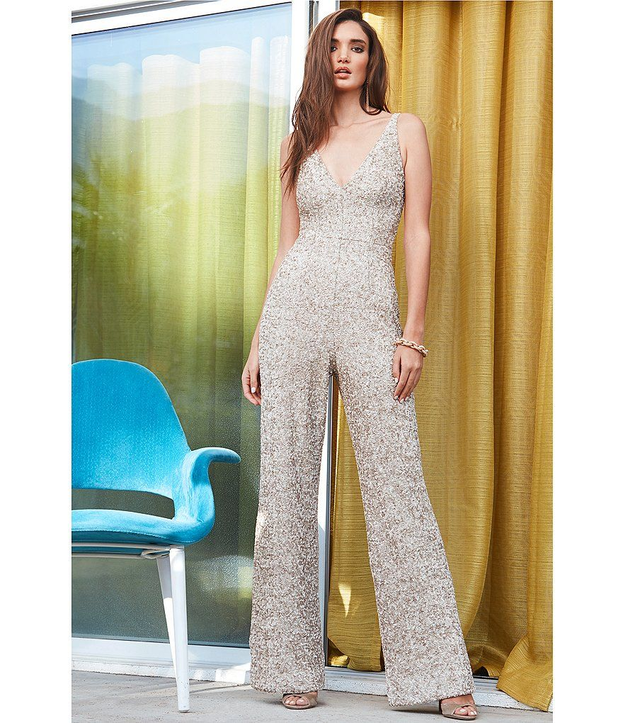 Dress the population charlie vneck sequin jumpsuit sequin