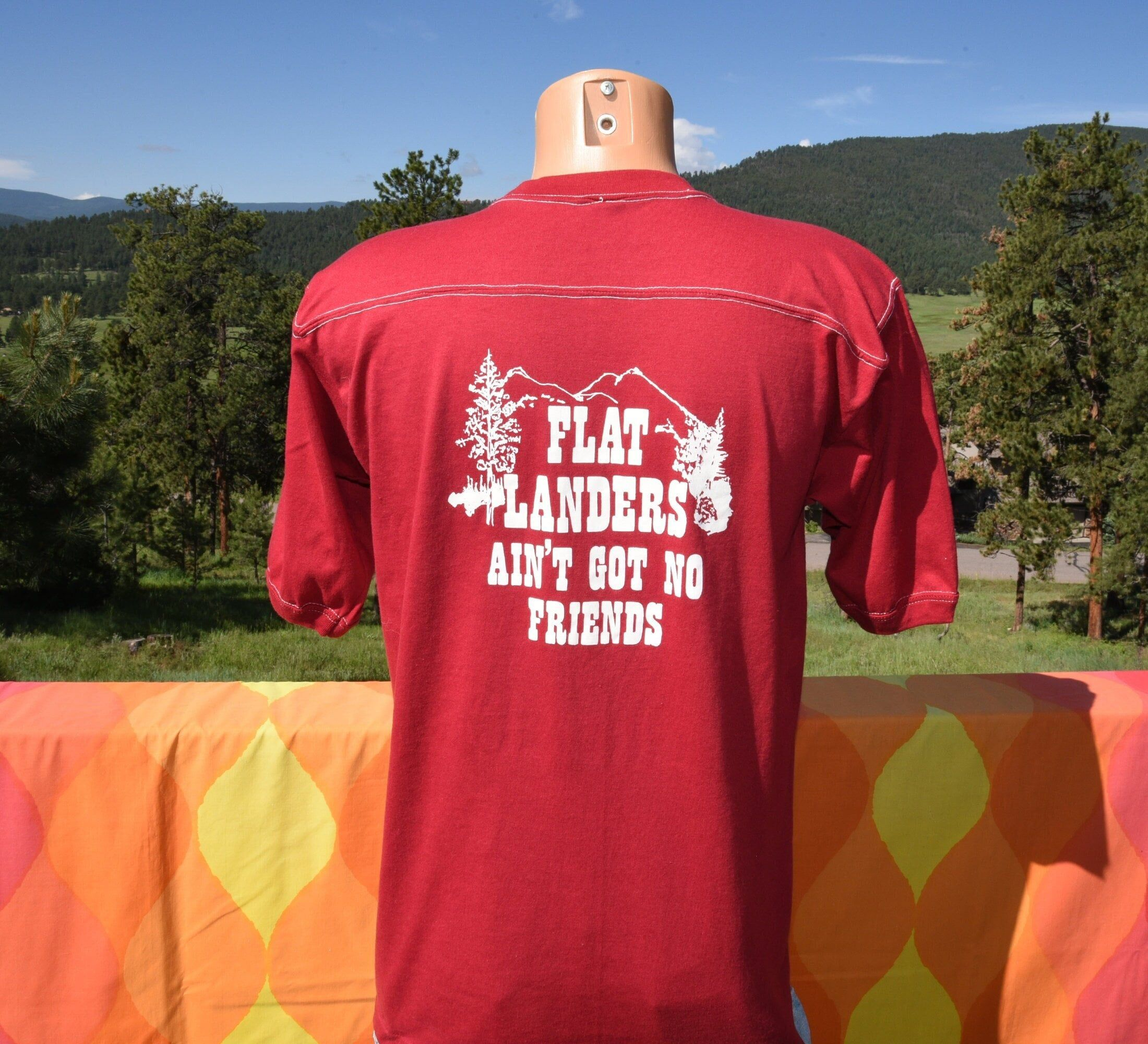 Tag: Sportswear remnant Era: 80s Fabric: 50-50 Size reads: Most likely was tagged Large - fits on the modern Medium side, please check measurements Measures: 20 inches across the chest, 29 inches back collar to hem Colors: burgundy half sleeve yoke jersey style t-shirt with white Dinkey Creek on front, Flat Landers Ain't Got No Friends on back Condition: great vintage shape - soft and lovely For reference, Bjorn up there is 5-10. Ships same day to US via USPS with Tracking Number. International