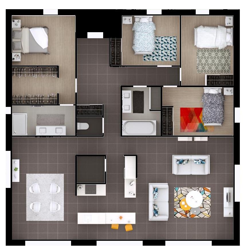 le plan de plain pied est scind en deux une zone tourn e vers la rue pour l espace nuit et. Black Bedroom Furniture Sets. Home Design Ideas