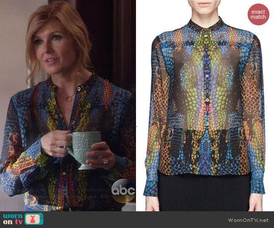 181cfccc121ed6 Rayna s multicolored snake print blouse on Nashville. Outfit Details   http   wornontv.net 42090   Nashville