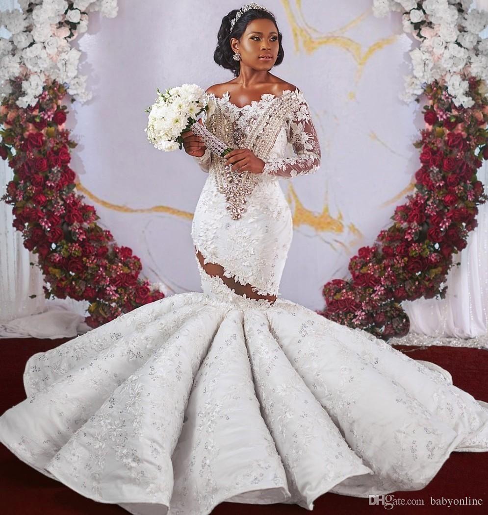 Luxury African Dubai Style Mermaid Wedding Dresses Beads Crystals