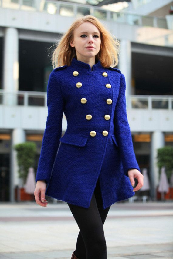 ON SALE Blue Military Jacket Cashmere Coat Fitted Army Style ...