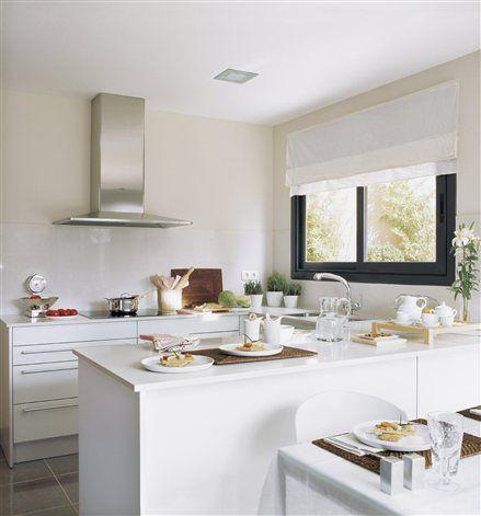 Cocina blanca con pen nsula cocinas pinterest cocina - Cocinas con peninsula ...