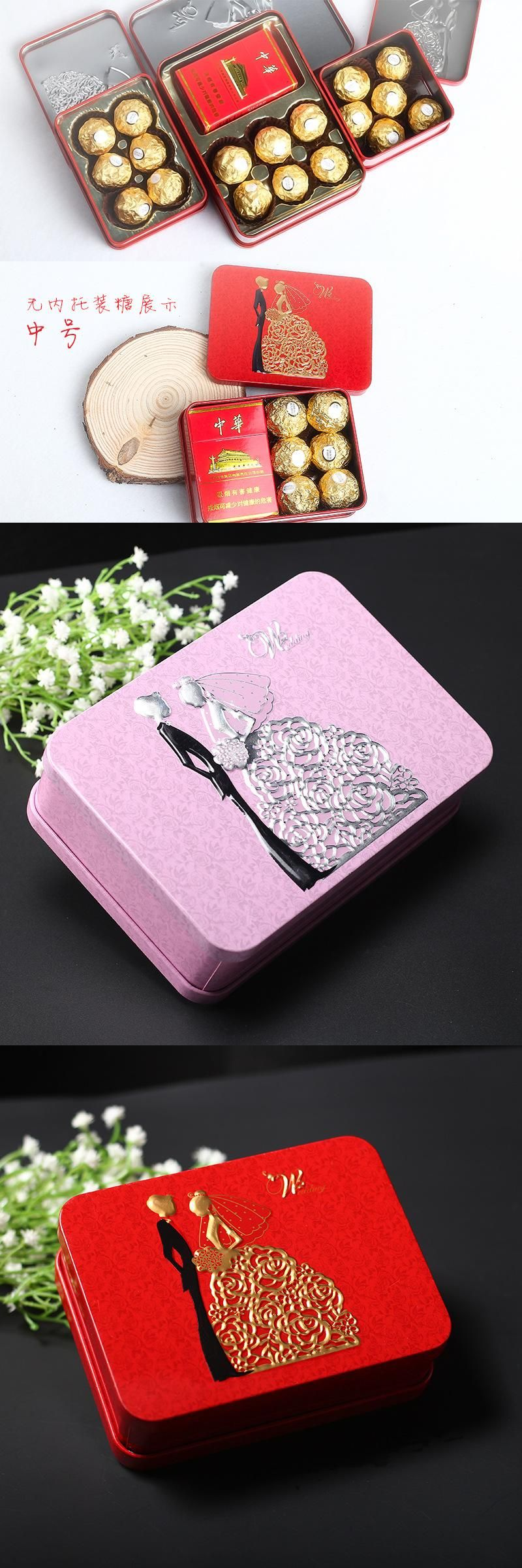 Party supplies Romantic Candy Box long square Tin plate joyous box ...