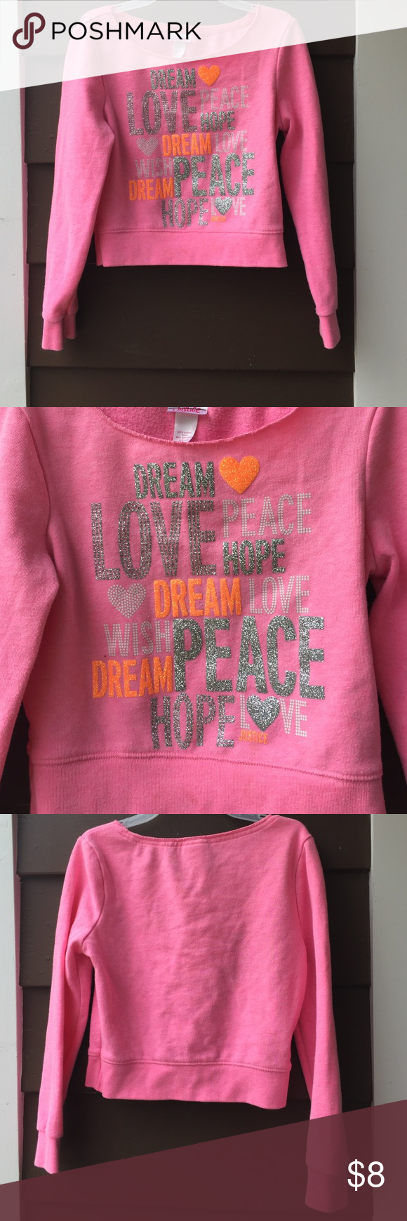 Adorable Girl Sweatshirt Worn a few times but no stains holes etc. still in very good condition Justice Shirts & Tops Sweatshirts & Hoodies