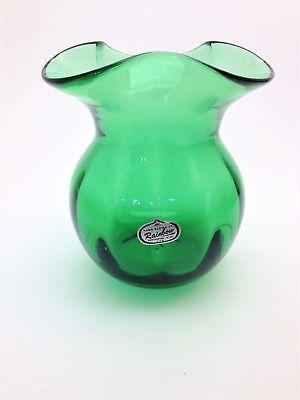 Vintage Green Blown Glass Vase Wide Rib Rainbow Glass Huntington Wv