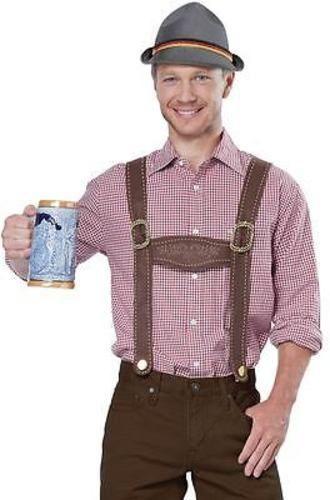 Authentic German Brown Faux Suede Lederhosen Oktoberfest Beer Mens Costume