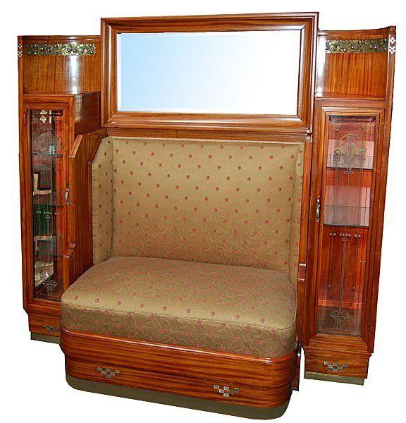 6266 Spectacular Art Nouveau Bench & Curio Cabinet : Lot 5156