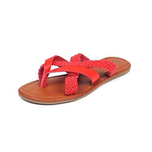 350b4a4431b MIA Womens Corben Braided Strap Thong Flat Sandals 7 Red    Click on the  image for additional details.(This is an Amazon affiliate link and I  receive a ...