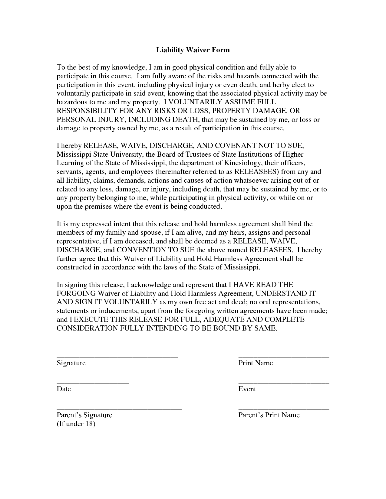 Free Printable Liability Release Form Template Form – Cute30