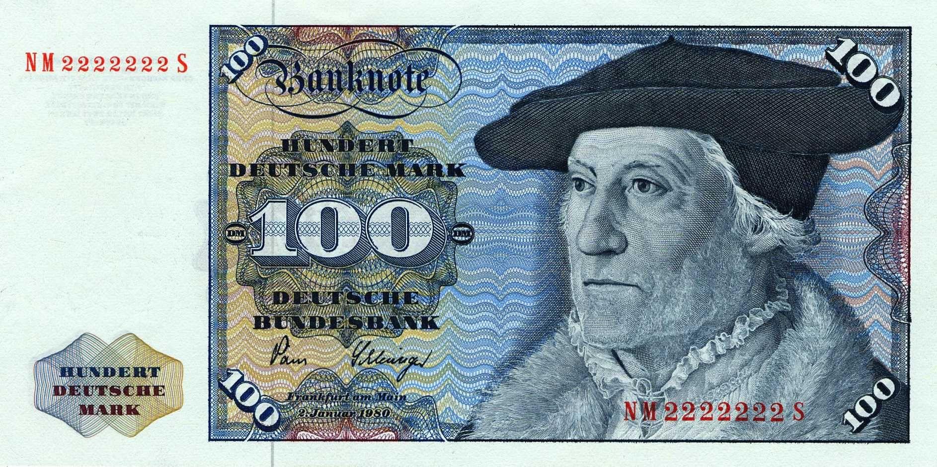 Banknote 100 Deutsche Mark Munster 1980 Money, Old money