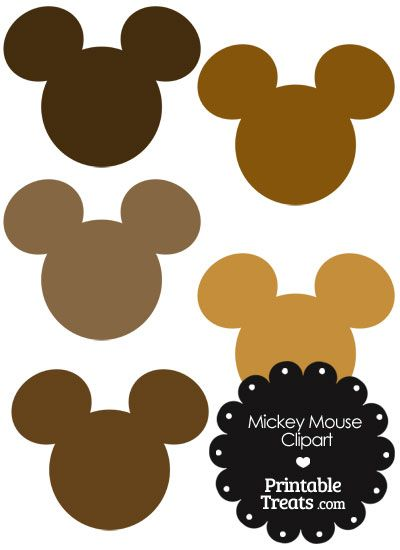 Mickey Mouse Head Clipart In Shades Of Brown Mickey Mouse Head Mickey Mouse Outline Mickey Mouse Clipart