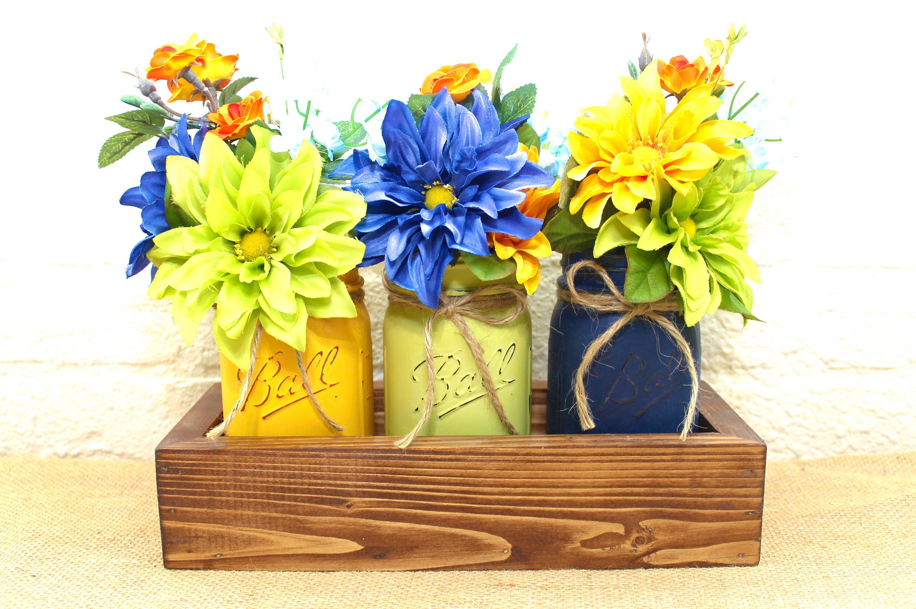 Navy and lime pint mason jar floral planter box centerpiece