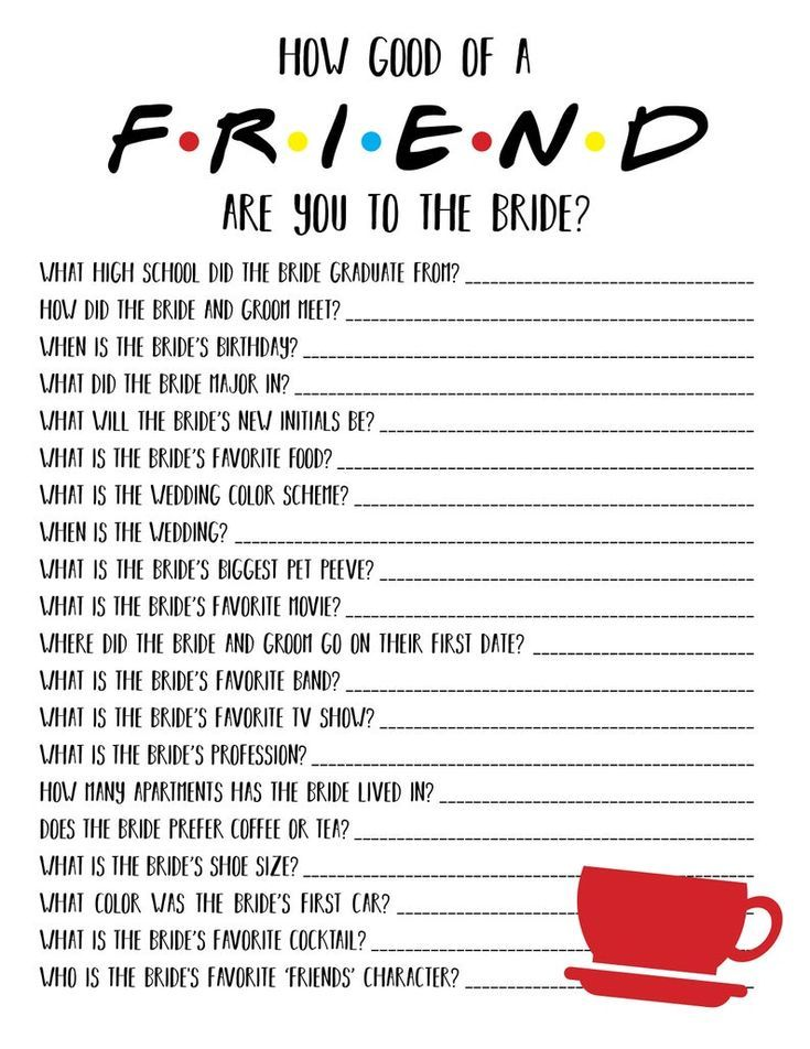 Friends Bridal Shower Game | Friends Bachelorette