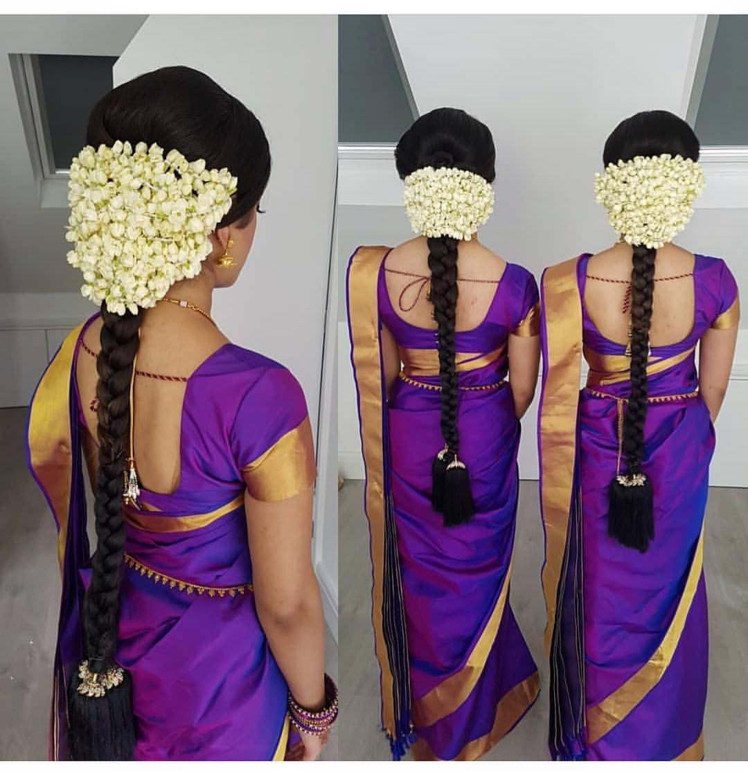 Our Love For Jasmine Flowers Is Real Mua Saree Hairstyles Indian Bride Hairstyle Indian Bridal Hairstyles