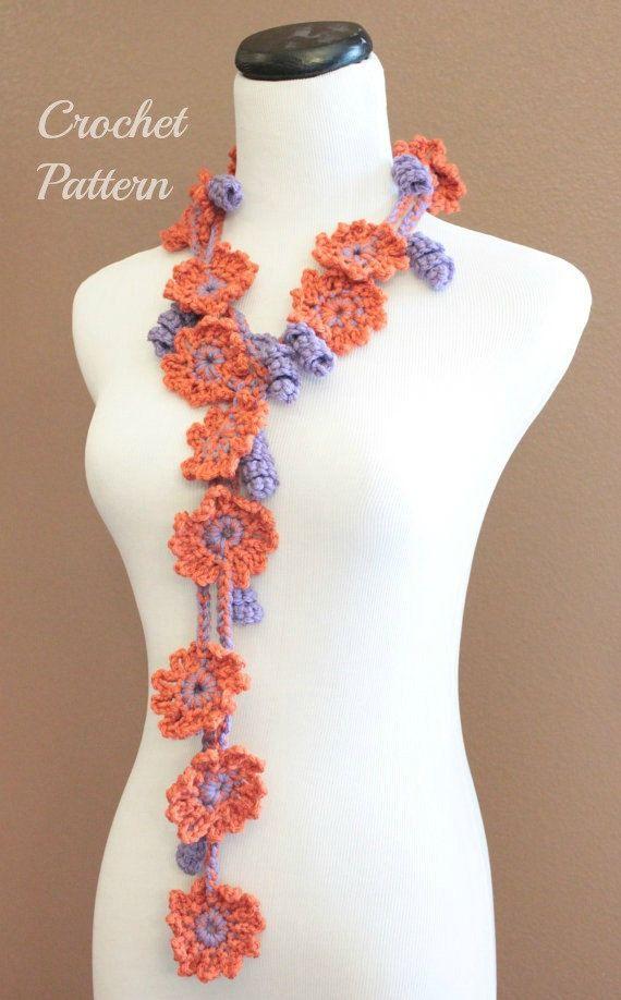 CROCHET Pattern - Crochet Flower Lariat Pattern, Crochet Scarf ...