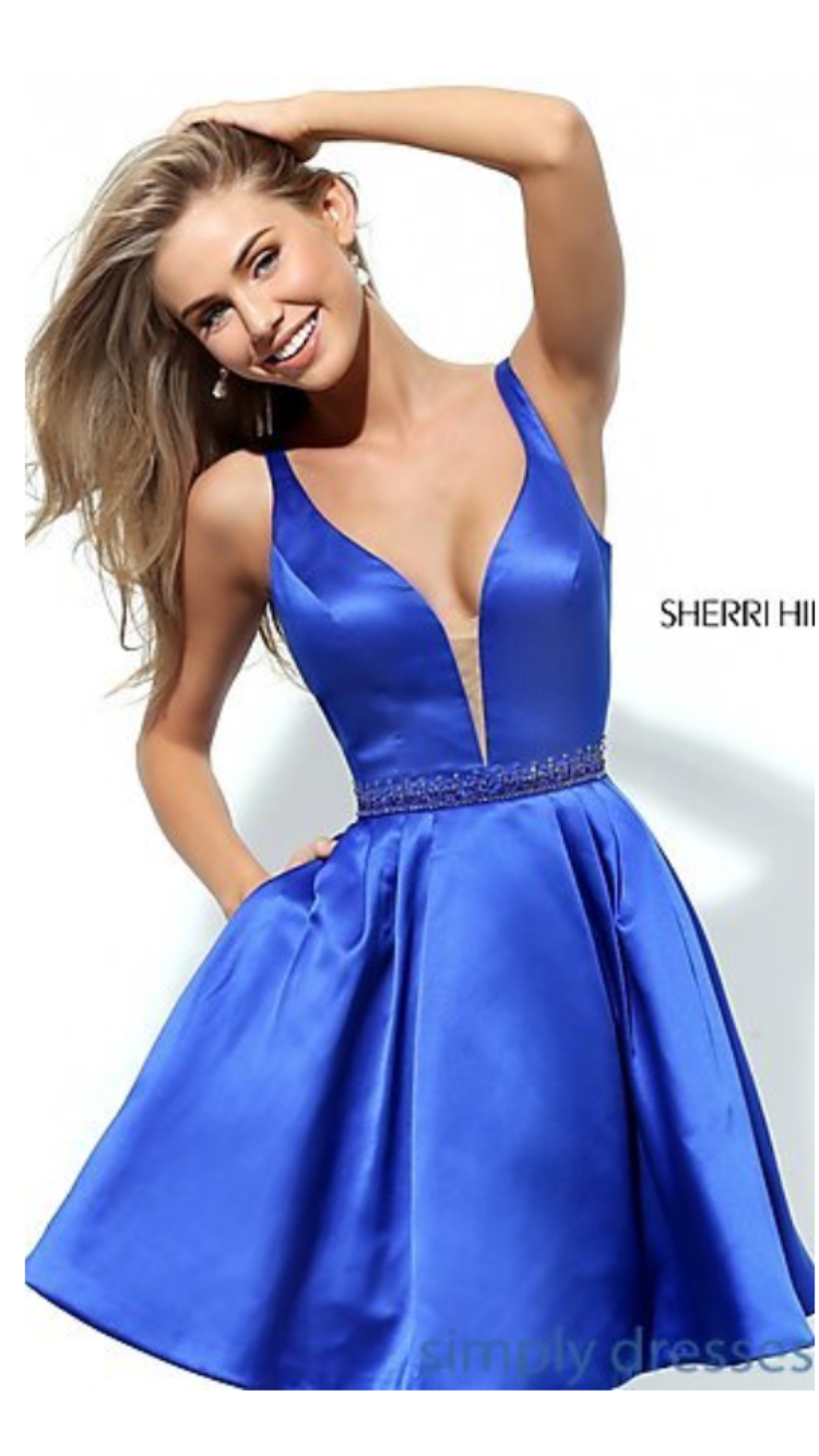 Junior Sherri Hill 50495 Short 2016 A-line Homecoming Dress Royal