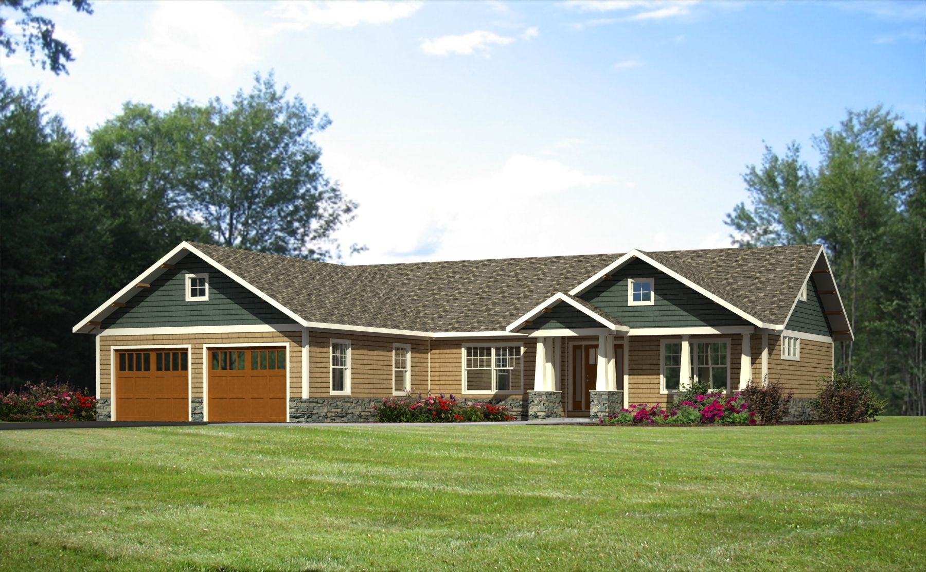 The Hunter 1 680 S F 3 Bedrooms 2 Baths Craftsman Bungalow House Plans Wausau Homes Modular Homes