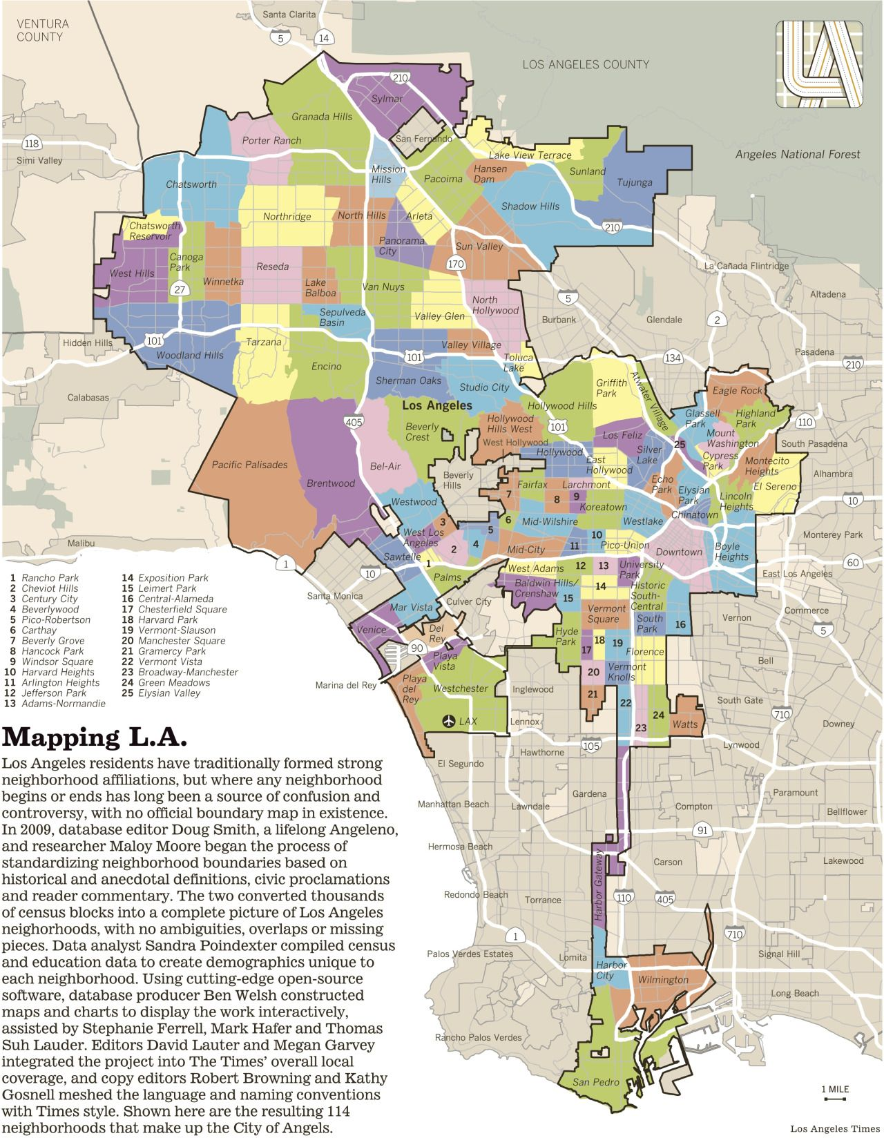 La Neighborhood Map This map shows the many neighborhoods of the sprawling (and oddly
