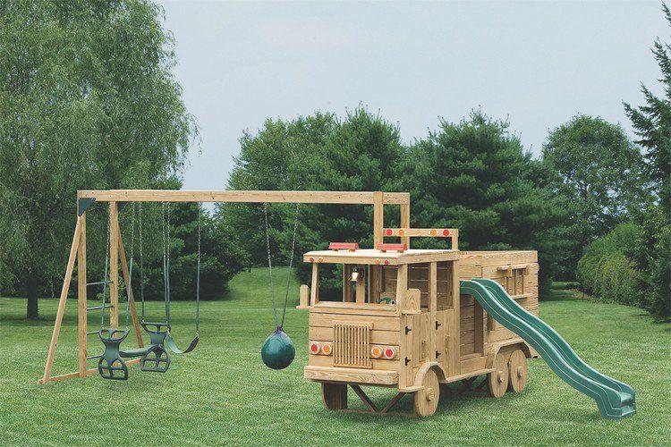 Parfait Aire De Jeux Extérieur Camion Fabriqué De Bois #jardin #garden #design  #exterior #kids