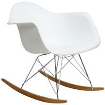 Molded Plastic Armchair Rocker in White 147-WHI by LexMod