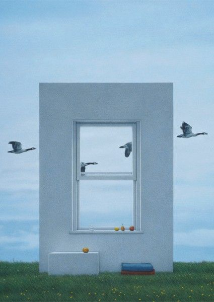 Window And Geese Surrealistische Kunst Fensterfarbe Bilder