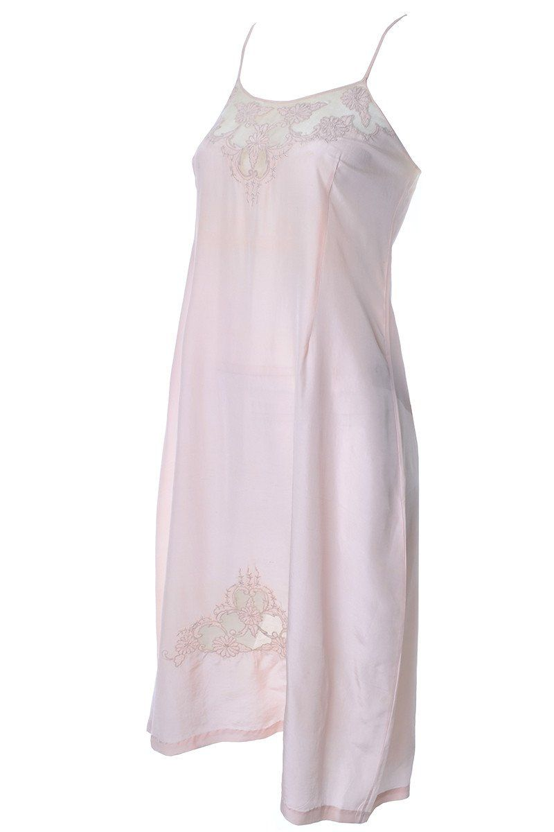 pink cotton and lace Vintage 1930/'s night slip nightdress