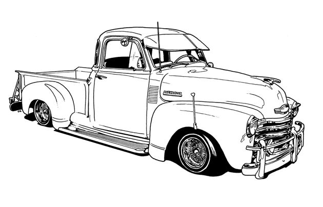 vintage truck color book pages | Lowrider Coloring Book by Dokument ...