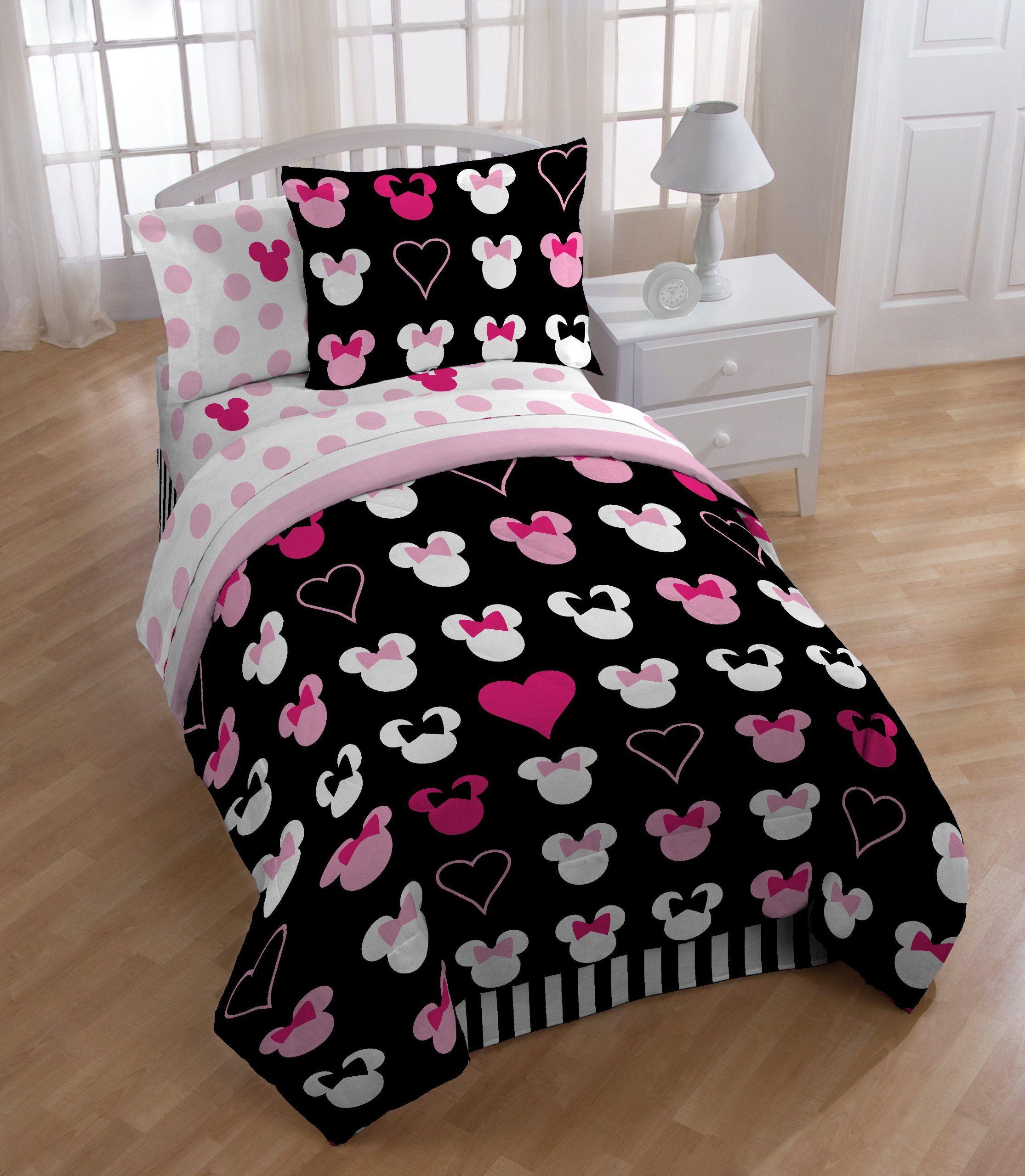 Amazon Com Minnie Mouse Twin Comforter Set Disney Love