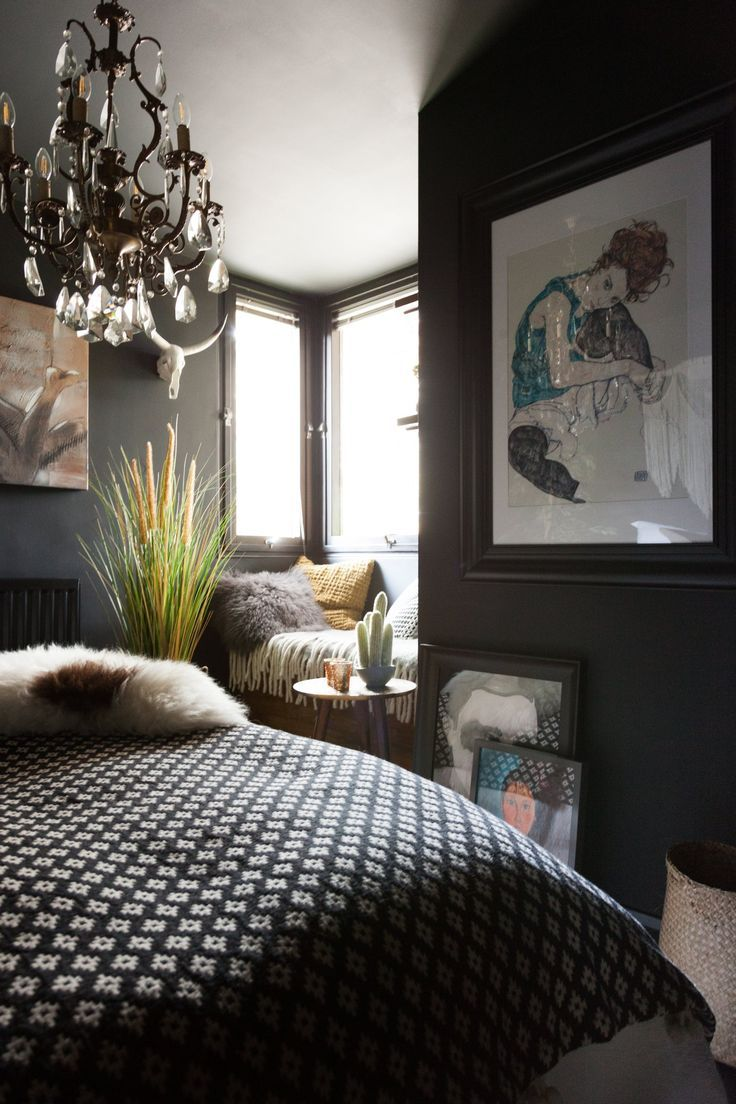 Window seat with bed  a dramatic maximalist london flat is dark eclectic u cool
