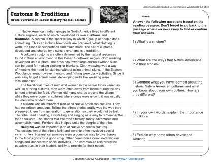 Worksheets Social Studies Reading Comprehension Worksheets customs and traditions comprehension the ojays 5th grade readingreading worksheetssocial