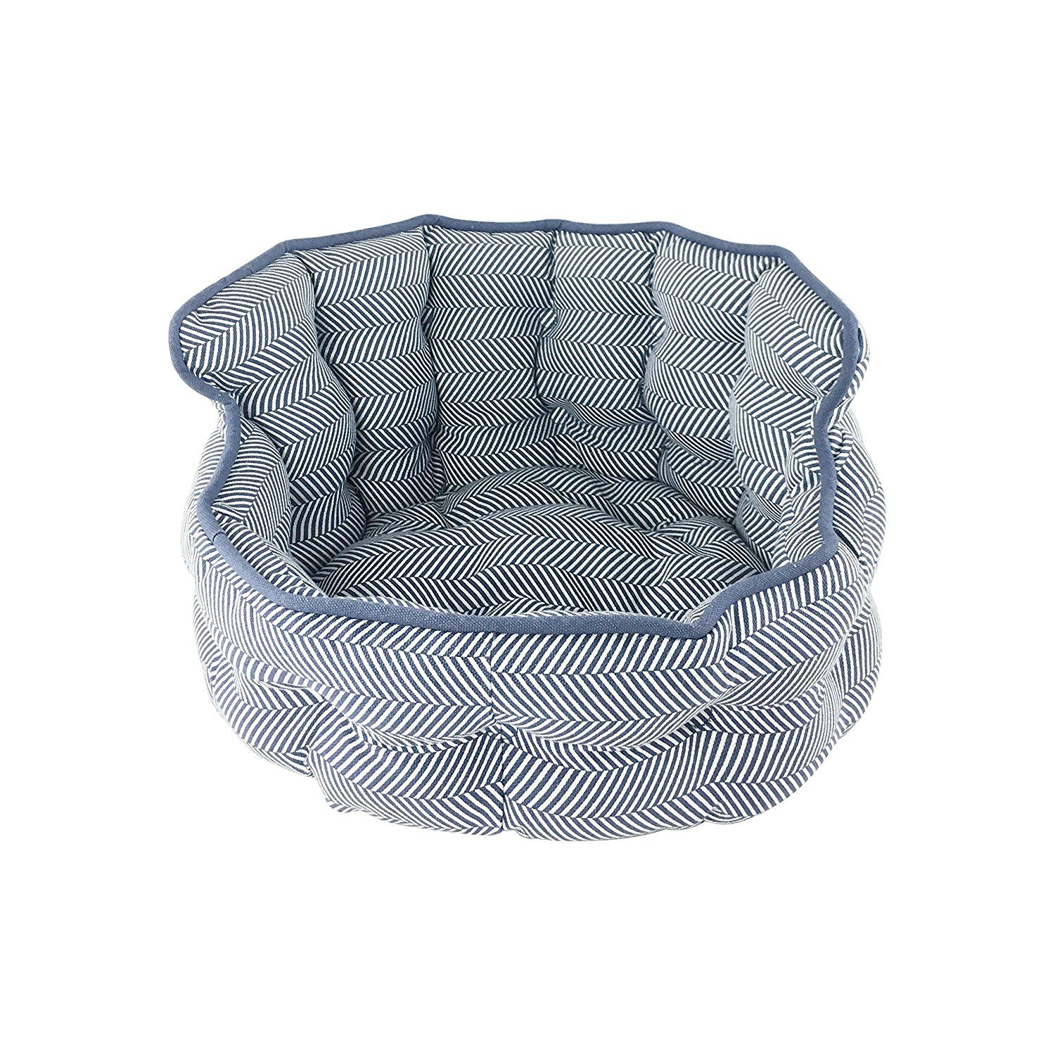 Precious Tails Herringbone Blue Round Mini Tufted Pet Bed Sofa