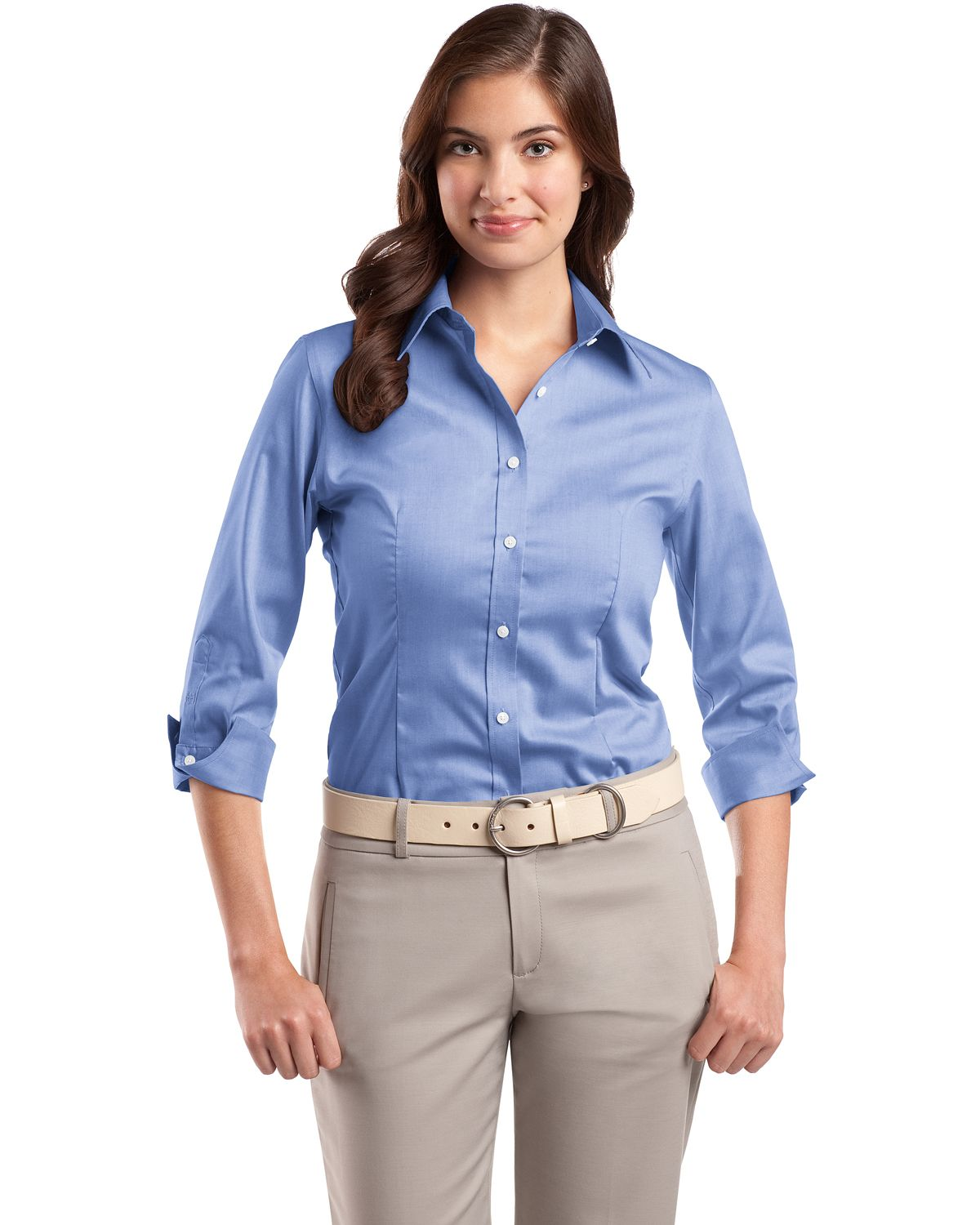 Red House ® Ladies 3/4-Sleeve Non-Iron Pinpoint Oxford