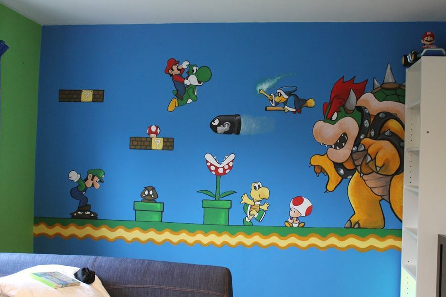 Super Mario Mural with favourite characters   Mario zimmer ...