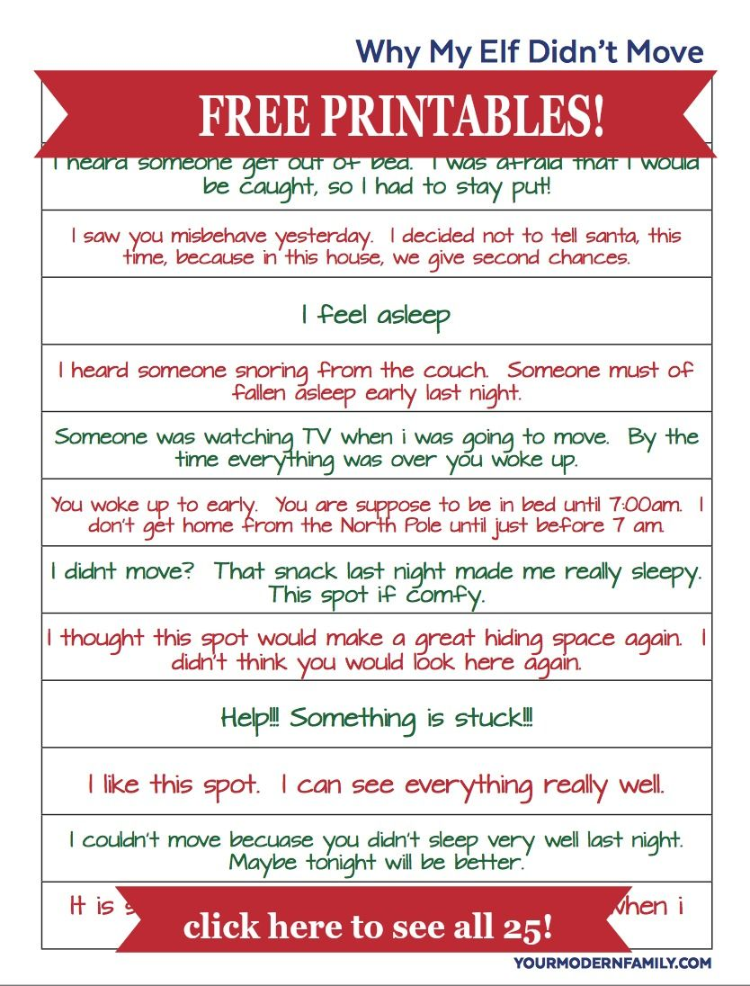 free elf on the shelf printable excuses for when he forgets to move cut them up
