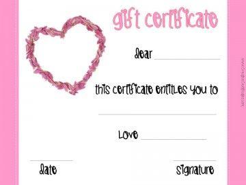Valentine S Gift Certificates Hacks Pinterest Gift