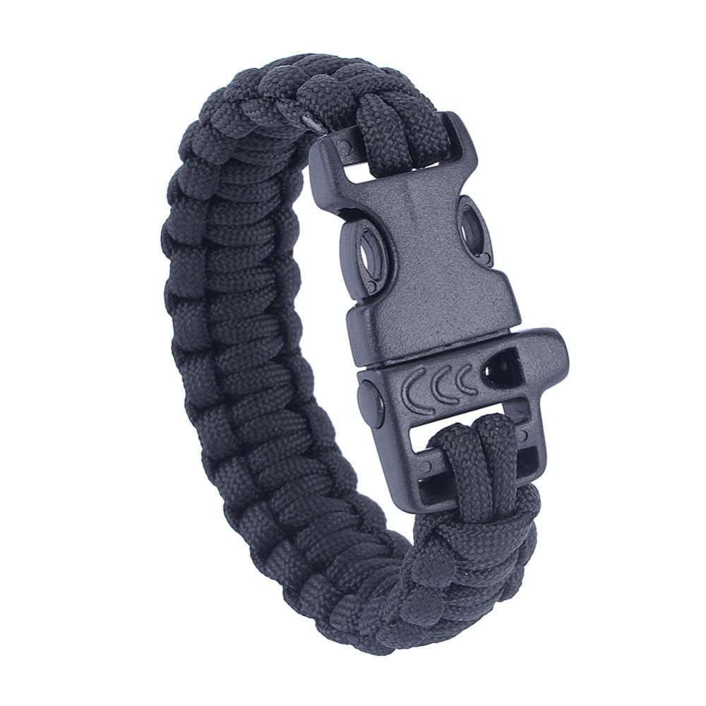 550 Paracord Whistle Bracelet Black Buckle Survival Army Wristband Camping