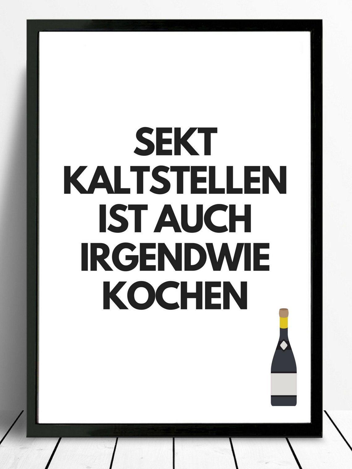 Poster-typo print sparkling wine, cooking | Urkomische ...